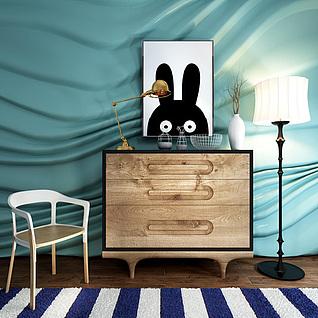儿童卧室边柜椅子组合3d模型
