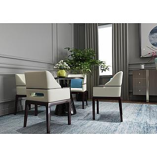 餐桌椅盆栽植物组合3d模型