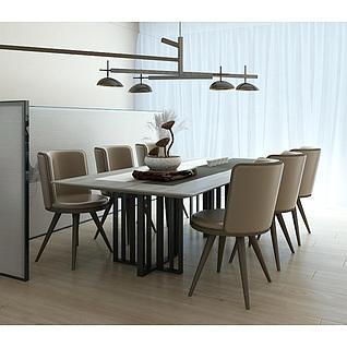 北欧现代餐桌椅吊灯组合3d模型