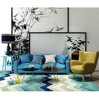 时尚北欧沙发单椅组合3d模型