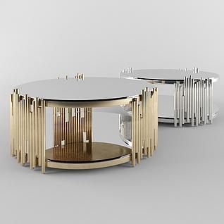 现代创意金属茶几3d模型