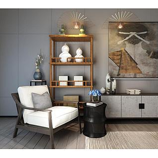 新中式椅子博古架组合3d模型