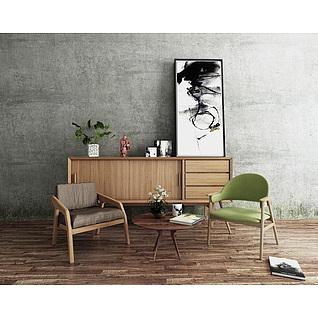 北欧实木边柜休闲椅组合3d模型