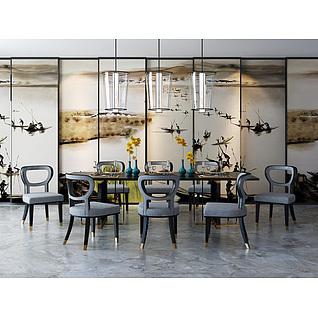 现代时尚餐桌椅个性吊灯组合3d模型
