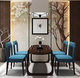 茶室桌椅创意吊灯组合3d模型