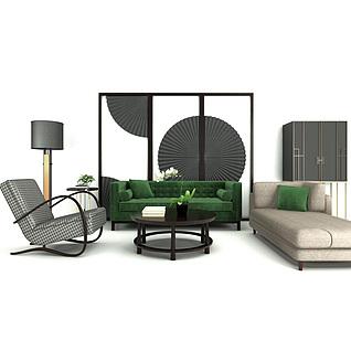 新中式沙发屏风组合3d模型
