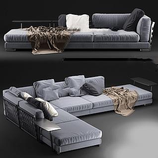 时尚灰色布艺拐角沙发3d模型