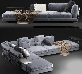 时尚灰色布艺拐角沙发