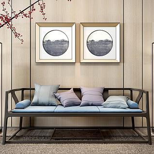 新中式木质长椅落地灯组合3d模型