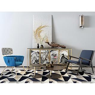 现代时尚椅子边柜组合3d模型
