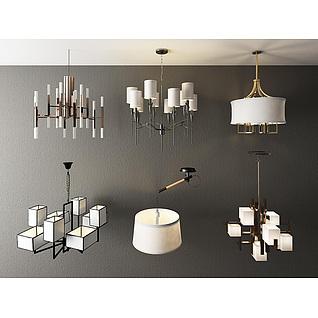 白色现代创意吊灯3d模型