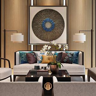 新中式沙发茶几时尚背景墙3d模型