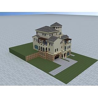 现代欧式风格别墅3d模型