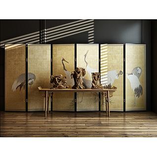 中式人物雕塑摆件仙鹤屏风组合3d模型