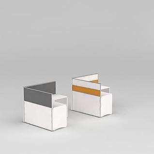 屏风式办公桌3d模型