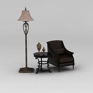 咖啡色真皮沙发茶几落地灯组合3d模型