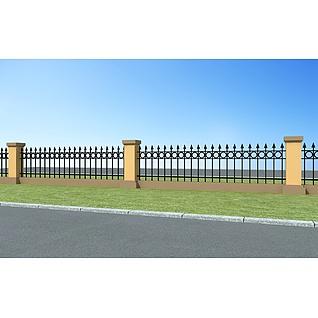 围墙护栏3d模型