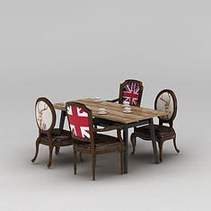 复古餐厅桌椅3D模型3d模型