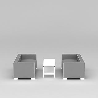简约灰色沙发茶几3d模型3d模型