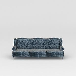 3d復古花紋三人沙發模型