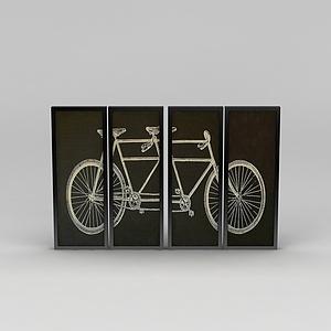 自行车图案挂画组合模型3d模型