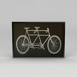 3d时尚墙壁<font class='myIsRed'>自行车</font>挂画模型