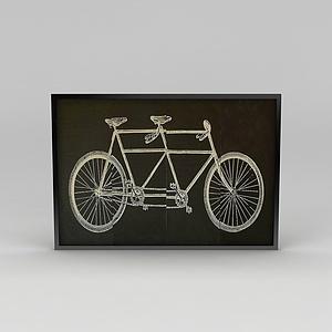 时尚墙壁自行车挂画模型3d模型
