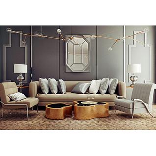 现代客厅沙发吊灯组合3d模型3d模型