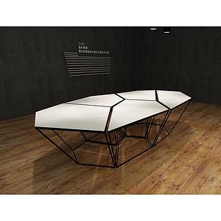 创意几何陈列台3d模型