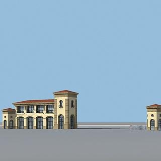 小区大门3d模型