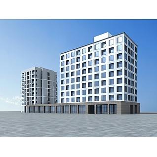 现代酒店建筑3d模型3d模型