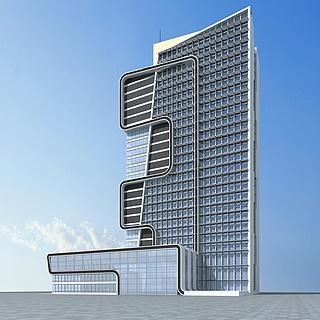 现代时尚办公楼3d模型