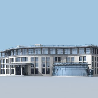 三层弧形办公楼3d模型