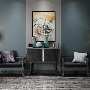 現代中式椅子柜子組合模型3d模型