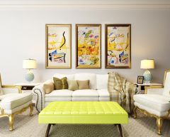 简欧客厅沙发茶几挂画组合模型3d模型