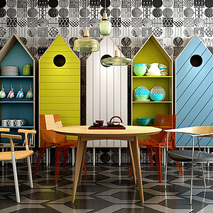 北欧创意房子形餐边柜模型