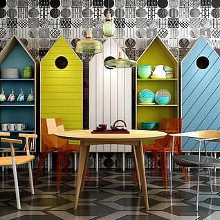 北欧创意房子形餐边柜3d模型