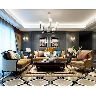 美式沙发茶几组合3d模型3d模型
