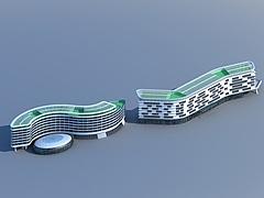现代时尚酒店建筑3D模型3d模型