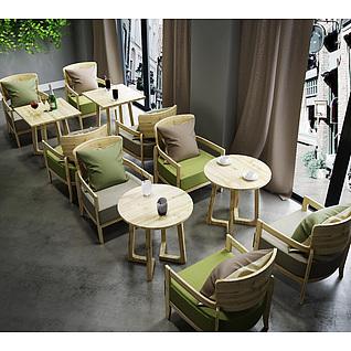 茶餐厅实木桌椅组合3d模型3d模型