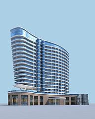 现代五星级酒店饭店模型3d模型