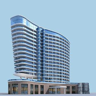 现代五星级酒店3d模型