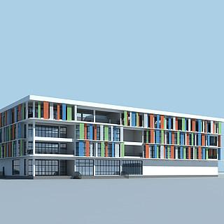 现代时尚四层办公楼3d模型