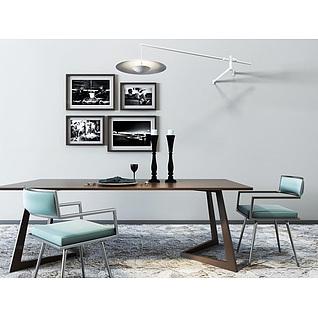 后现代餐桌椅吊灯组合3d模型3d模型