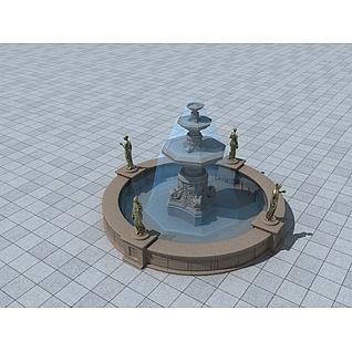 欧式广场小喷泉3d模型