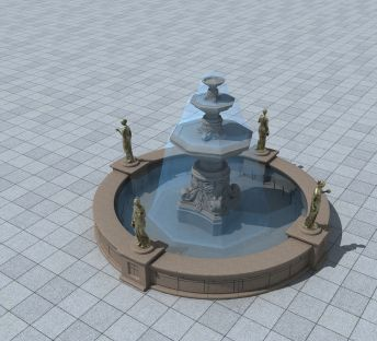 欧式广场小喷泉