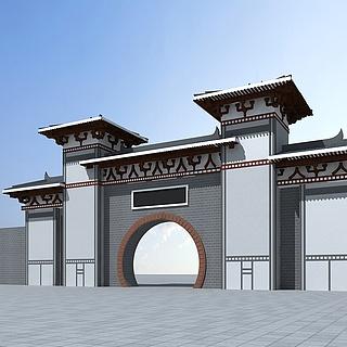 中式大门3d模型