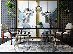 时尚北欧餐桌椅吊灯组合3D模型3d模型