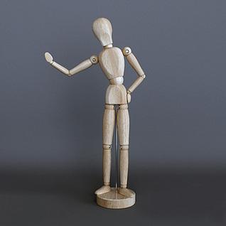 木质人偶摆件3d模型
