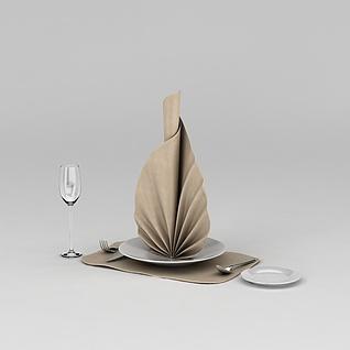高档西餐餐具3d模型